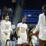 UCLA players walk off the court after the game. Maria Noble/WomensHoopsWorld.
