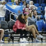 Former Bruin guards Jordin Canada and Kelli Hayes took in the game courtside. Maria Noble/WomensHoopsWorld.