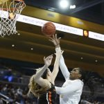 Lauryn Miller scores. Maria Noble/WomensHoopsWorld.