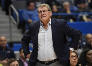 Connecticut head coach Geno Auriemma during the first half of an NCAA college basketball game,Tuesday, Nov. 19, 2019, in Hartford, Conn. (AP Photo/Jessica Hill)