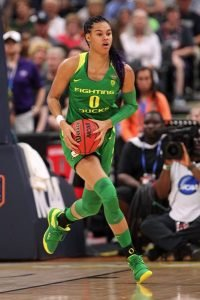 Satou Sabally, who played professional basketball as a teen in her native Germany, announced last week she will enter April's WNBA draft. Jaime Valdez photo.