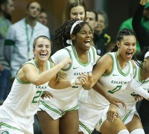 Sabrina Ionescu, Ruthy Hebard and Satou Sabally became the first Oregon players to be selected in the first round of the WNBA draft. Photo courtesy of Oregon Athletics.
