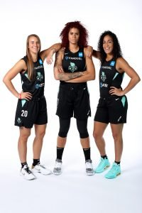 No. 1 draft pick Sabrina Ionescu, veteran Amanda Zahui B. and Kia Nurse on team media day. Photo courtesy of New York Liberty.