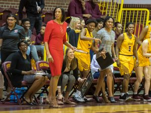 The Bethune-Cookman bench erupts after an and-one call. Photo courtesy of Bethune-Cookman Athletics.