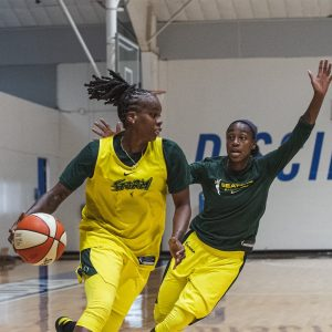 Epiphanny Prince drives on Jewell Loyd. Photo courtesy of the Seattle Storm.