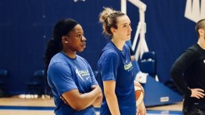Dallas acquired Marbury in a deal prior to this season, and before that, former Notre Dame teammates Arike Ogunbowale and Marina Mabrey reunited this year . Photo courtesy of Wings of Dallas.