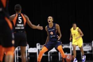 DeWanna Bonner exults after a bucket. NBAE/Getty Images photo.