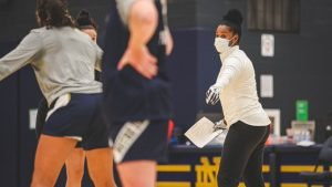 Niele Ivey conducts a practice session. Photo courtesy of Notre Dame Athletics.